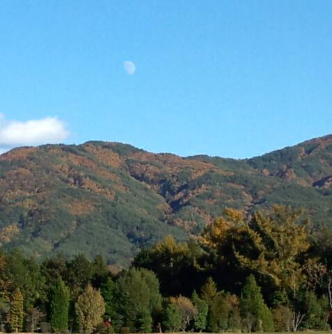 快晴の空と月と山